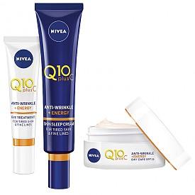 Q10plusC Anti-Wrinkle + Energy на NIVEA е нова формула с коктейл от два мощни антиоксиданта– коензим Q10 и чист витамин С. Освен че имат anti-age ефект, дневният, нощният и околоочният крем подпомагат възстановяването на кожата, подобряват структурата й и я правят по-плътна.