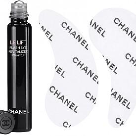 Le lift Flash Eye Revitalizer от CHANEL е серум за очи под формата на рол-он. Изглажда бръчките, подсилва метаболизма на кожата, подобрява микроциркулацията и заличава тъмните кръгове. Използвайте от време на време или като интензивна 10-дневна терапия сутрин и вечер. Пачовете в комплекта увеличават ефекта на серума, но тях използвайте само вечер.