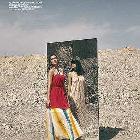 Дълга рокля H&M, 74.99 лв., къса рокля BCBG от NOTOSGALLERIES, 188 лв., обеци H&M, обувки FLOGG от NOTOSGALLERIES, 291 лв. /  В огледалото тя е с елек JESSICA SIMPSON от NOTOSGALLERIES, 275.33 лв., сандали JUICY COUTURE от COLLECTIVE, 249 лв.