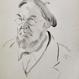 Автопортрет, 1957 г., акварел върху картон