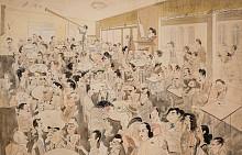 Сладкарница Цар Освободител 1935г. / туш, молив, цветен молив, акварел / архив: сем. Добринови