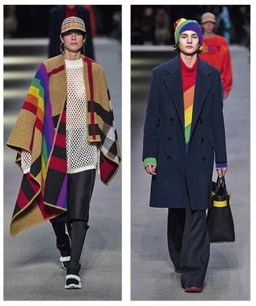 """Карето, запазената марка на Burberry, в последната колекция на британската модна къща """"приюти"""" дъгата като символ на хомосексуалните и трансджендър"""