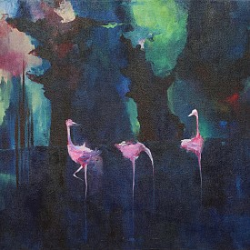 Северното сияние в страната на розовите фламинго, 61 x 91.4 cm