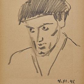 Мъж с шапка, 1946 г., молив върху хартия