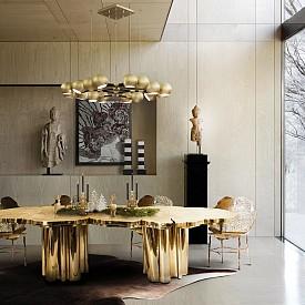 Златото се комбинира перфектно с дърво и камък