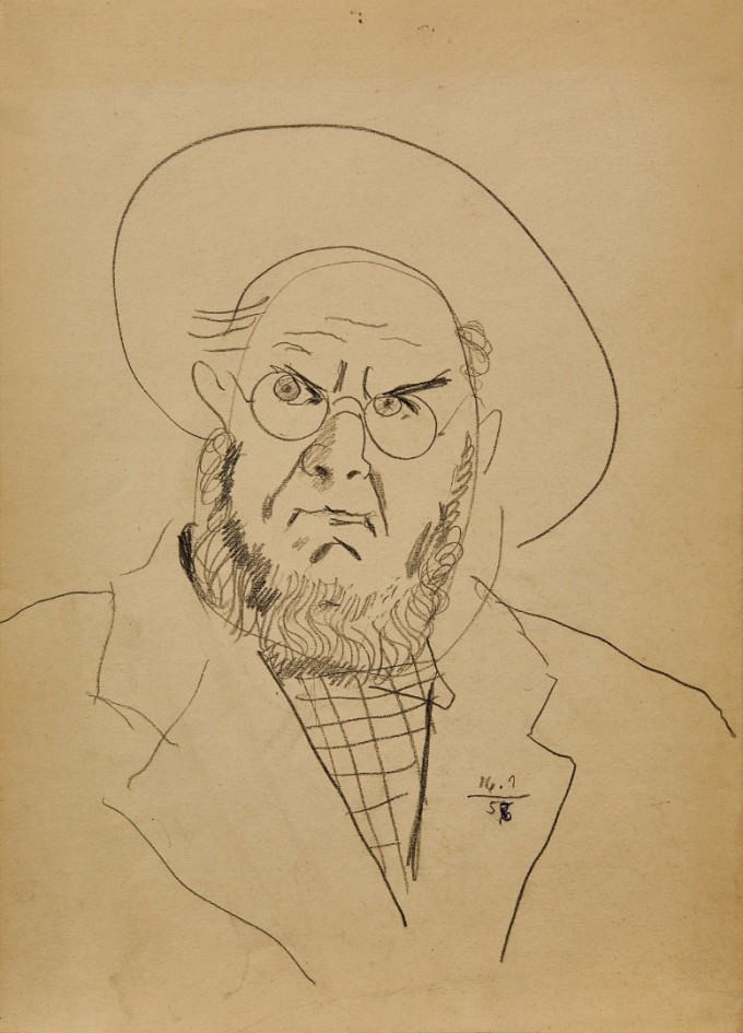 Автопортрет, 1956–1957 г., молив върху хартия