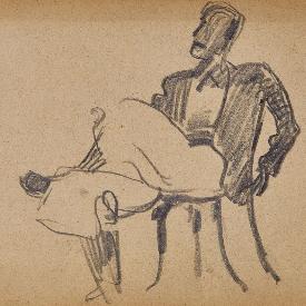 Седнал мъж, 1946 г., молив върху хартия