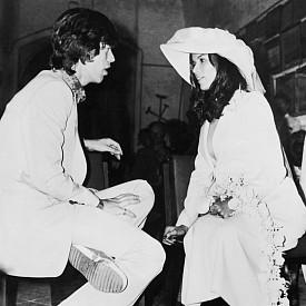 Бианка Морена и Мик Джагър на сватбата им в Сен Тропе през май 1971 г.