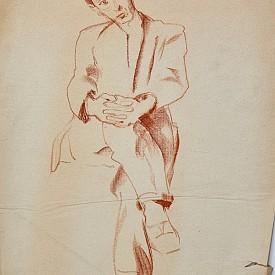 Седнал мъж, креда върху хартия