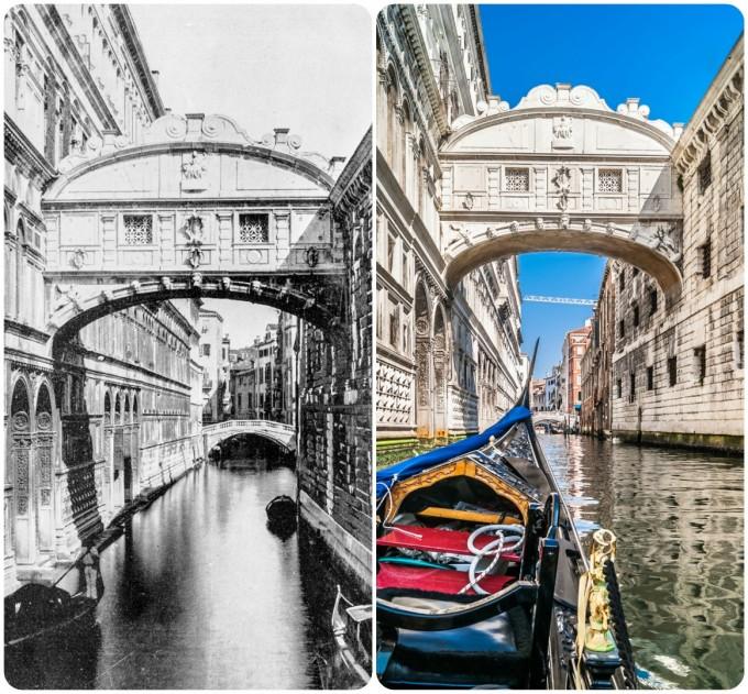 Мостът на въздишките от старите картички (в ляво) и днес.