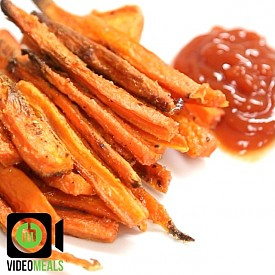 Carrot fries 1- Preheat oven to 220C (425F)  2- Peel and cut carrots into french fry sized pieces  3- In a bowl add 1 tablespoon of cornstarch, salt and pepper, and little garlic powder.  4- Throw the carrots in bowl and shake it all up  5- Place on baking tray and drizzle a little olive oil on top and place in oven for about 20-25 minutes, turning once.  NOTES: Ideal for an appetizer, tv snack or a side dish. What other spices would you add to it?? cayenne pepper maybe? Approx. Macros: Based on 4 regular sized carrots Kcal:150 Carbs:20g Fat:7g Protein:2g