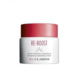 Хидратиращият крем-гел Re-Boost от серията My Clarins на CLARINS подпомага хидратацията на кожата и е с 89% съставки от естествен произход.