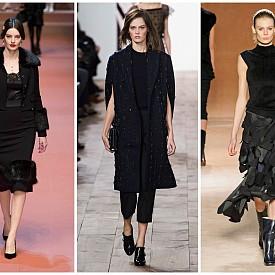 Черна нощ   В една или друга форма черното присъства във всяка колекция – няма друг цвят, толкова неподвластен на времето. Louis Vuitton предлага комбинации с бял сатен, а Vera Wang, Anthony Vaccarello, Dolce & Gabbana демонстрират визии all-black.   Dolce & Gabbana FW15; Michael Kors FW15; Victoria Beckham FW15