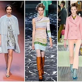 Нежен пастел    Светлите оттенъци удивително хармонират със зимните кройки и тежки материи. Ръкавици, палта, поли и панталони радват в студа, а вдъхновение може да намерите при Dolce & Gabbana, Prada, Christian Dior, Missoni и Dries Van Noten.   Dolce & Gabbana FW15; Missoni FW15; Prada FW15