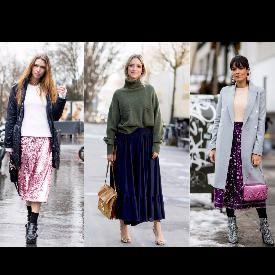 Как да носите пола с пуловер през есента