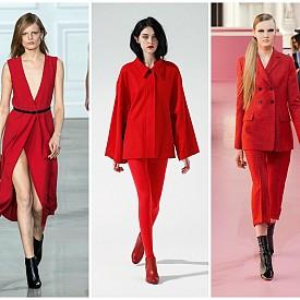 Класическо червено    Предпочитанията към тъмната палитра не означава, че зимната мода ще бъде унила и скучна. Силните нотки на червеното внасят разнообразие във всяка визия. Доказателство за това виждаме във визиите на Saint Laurent и Hermes.   Jason Wu FW15; Katie Gallagher PO FW15;  Dior FW15.