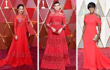 Червеният килим на Оскарите посрещна много червени рокли