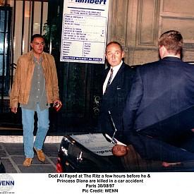 """Доди Ал Файед в хотел """"Риц"""" часове преди той и Принцеса Даяна да загинат в автомобилна катастрофа на 30 август, 1997 г."""