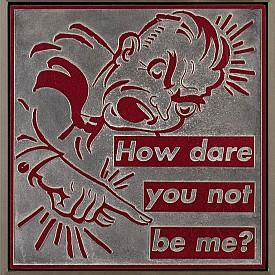 """ИЗБОРЪТ НА ЕЛИ: Барбара Крюгер, """"Untitled (How Dare You Not Be Me?)"""", 1996 г., с предварителна оценка 20-30 хиляди долара."""