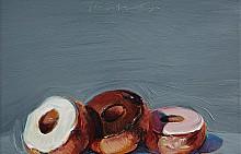 """ИЗБОРЪТ НА КАСПАР: """"Три понички"""" на Уейн Тибо, 1994 г., с предварителна оценка между 700 хиляди и 1 милион долара."""