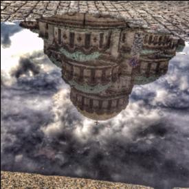 """Отражение в локва на храм-паметник """"Св. Александър Невски"""""""