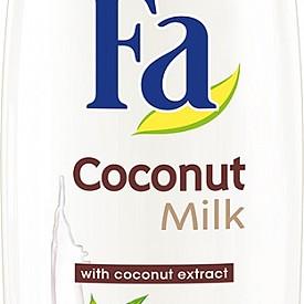 ДУШ ГЕЛ FA COCONUT MILK - Кокосовата вода е не само освежаваща, но също така съдържа и много витамини, а сърцевината му е ценен източник на енергия. Иновативната формула на душ млякото предпазва кожата от изсушаване и я дарява с мекота. (250 ml, 4,39 лв. )