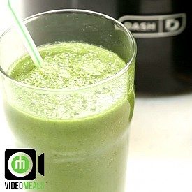 Green mint smoothie  1- In a blender add, 1 green apple, 1 cucumber, 240ml (1 cup) water, 7-8 mint leaves, handful of spinach, and a handful of ice cubes.  2- Blend it all up and serve  NOTES: Feel free to play with this and add other things. I also added a scoop of superfood. How would you improve this? Servings: 2 Approx. Macros: per serving Kcal:72 Carbs:16g Fat:0g Protein:2g