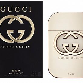 Gucci Guilty Eau – нежен и лек, интерпретация на класическия аромат с топъл акорд на сладки нотки от личи, лилия, дива ягода и мускусна база.