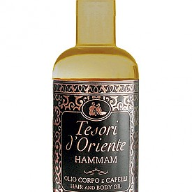 Копринено олио за тяло от серията Hammam на TESORI D'ORIENTE. Истински аромат на съблазън и чувственост, разгръщащ се в буйни нотки на мандарина, сладки бадемови цветове, портокал, арабски жасмин, ванилия и кехлибар.