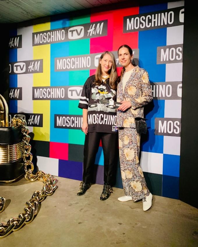 Ан-Софи Йохансон с главния редактор на ELLE България на представянето на Moschino[tv]H&M в Ню Йорк