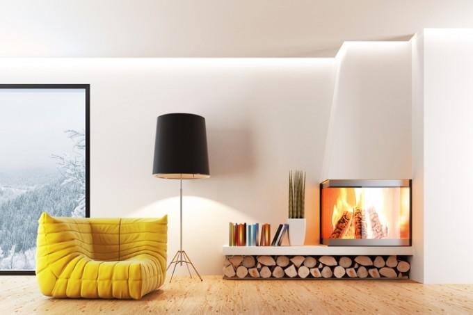 Не само камините, но и акцентите в жълто са важни за уюта вкъщи през студените месеци