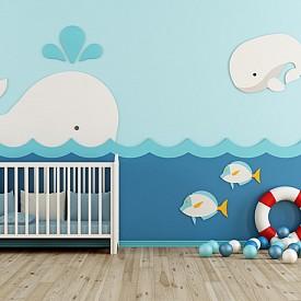 Морско синьо: класически цвят за детската стая не само защото е най-често избиран за момчета, а защото придава спокойствие и дава криле на мечтите. Според психолозите този цвят стимулира интелекта, вярата и задълбоченото мислене.