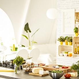 Кухня: за да обезвредите формалдехида, който се отделя от кухненските шкафове, и амоняка от препаратите, подгответе саксиите за палма рапис, антуриум или хамедорея елеганс.