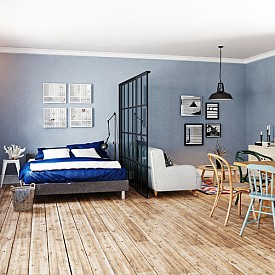 """""""Ако имате малък апартамент, откажете се от стените между стаите. За отделяне на помещенията използвайте пердета или подвижни прегради."""" Pierre Frey"""