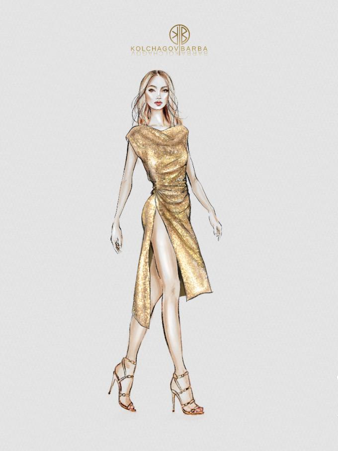 Една от скиците на златната рокля за турнето на Кайли Миноуг