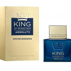 King of Seduction Absolut на Antonio Banderas  Морски акорди, съчетани с цитрусови нотки на грейпфрут, сърце от кардамон, лавандула, фини дървесни нотки на ветивер и мъх.