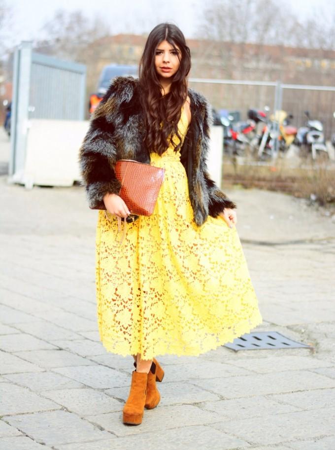 Цветен аутфит за Седмицата на модата в Милано