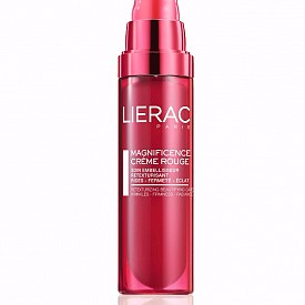 Разкрасяващ противостареещ крем с червени минерални пигменти, подходящ за всички типове кожа Magnificence Creme Rouge на Lierac, 145 лв. Съдържа хиалуронова киселина и витамини С и Е.