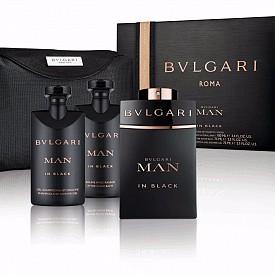 Коледен комплект BVLGARI Man In Black – включва тоалетна вода, 100 мл + балсам за след бръснене, 75 мл + душ гел, 75 мл + подарък козметичен несесер.