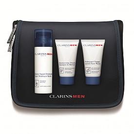 Козметичен комплект на CLARINS – хидратиращ балсам 50 мл + шампоан&душ гел 30 мл +   измиващ гел за лице 30 мл, 73 лв.