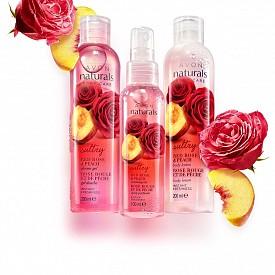 AVON NATURALS BODY CARE DEEP ROSE & PEACH - Ароматната грижа за тялото включва лосион за тяло, душ гел и енергизираща вода з атяло с аромат на роза и праскова.