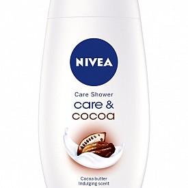 NIVEA CARE & COCOA -  Душ гелът от Nivea притежава подхранващи кожата свойства, а ароматът на какао спревръща времето под душа в приятна наслада.
