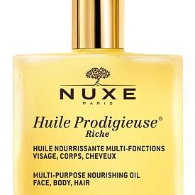 Култовото многофункционално сухо олио Huile Prodigieuse на NUXE вече се предлага и във вариант Richе за суха и много суха кожа, 51 лв.