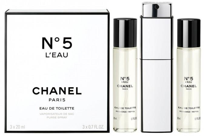 CHANEL N5 L'Eau спрей за чанта с два резервни пълнителя по 20...