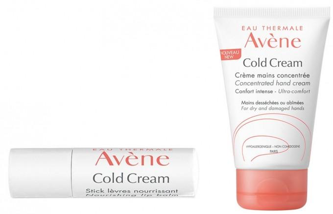 Подхранващ стик за устни и концентриран крем за ръце от серията Cold Cream на AVENE.