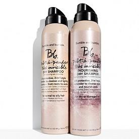 Prêt-à-powder Très Invisible Dry Shampoo и Prêt-à-powder Très Invisible (Nourishing) Dry Shampoo са сухи шампоани под формата на спрей с UV защита, които запазват прическата ви като почистват мигновено косата и придават лек обем, без да оставят никакви следи (дори на тъмна коса).