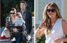 Бен Афлек със семейството си и бавачката Кристин