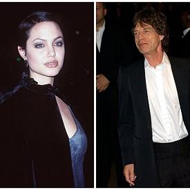 """Анджелина Джоли и Мик Джагър – Едва ли някой би се учудил, че рок динозавърът, който е вкарал в леглото си куп знайни и незнайни красавици, е минал и красавицата Анджелина Джоли. Кратката им връзка се случва, малко след като актрисата приключва снимките на лентата """"Джия."""" Според запознати Джагър бил обсебен от Анджелина цели две години, но в крайна сметка до сериозна връзка не се стигнало."""