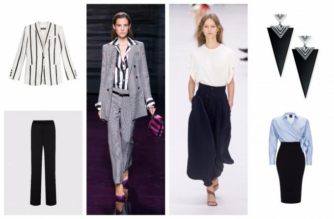 От ляво: Сако Twin Set и панталон Мarella Oт дясно: Обици Thomas Sabo и рокля Pinko