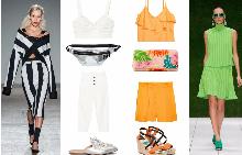 От ляво: Бюстие MANGO; чанта-колан H&M; Панталон MANGO; Чехли Twin Set От дясно: Кроп топ H&M; портмоне Desigual от fashiondays.bg; къси панталонки H&M; Сандали Benetton